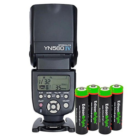 YONGNUO YN560 IV YN-560IV Wireless Flash Speedlite Master / Slave Flash with Built-in Trigger System with 4 X EdisonBright Ni-MH rechargeable AA batteries bundle for Canon Nikon Pentax Olympus Fujifilm Panasonic Digital Cameras
