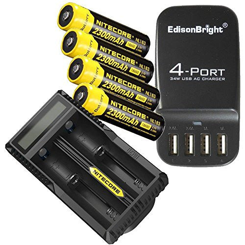 4 Pack NITECORE NL183 Protected 18650 Rechargeable Li-ion Batteries, Nitecore UM20 battery charger and EdisonBright EB-4U 4-port USB charging station bundle