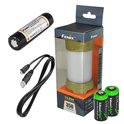 Fenix CL25R 350 lumen USB rechargeable magnetic base camping lantern / work light (Olive green body) , 18650 rechargeable battery with Two back-up use EdisonBright CR123A Lithium Batteries