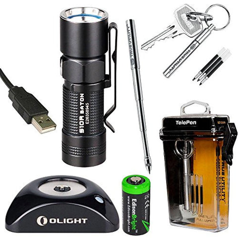 Olight S10R Baton rechargeable 400 Lumens CREE XM-L2 LED pocket Flashlight EDC with True Utility TU246 Tele-Pen, RCR123 Li-ion battery, Charging Base and EdisonBright CR123A Lithium back-up Battery