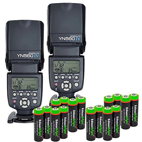 2 Pack YONGNUO YN560 IV YN-560IV Wireless Flash Speedlite Master / Slave Flash with Built-in Trigger System with 16 X EdisonBright Ni-MH rechargeable AA batteries bundle for Canon Nikon Pentax Olympus Fujifilm Panasonic Digital Cameras