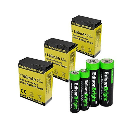 3 Pack Nitecore NLGP3 1180mAh Li-ion batteries for GoPro hero3 & hero3+ battery with EdisonBright AA/AAA alkaline battery sampler pack