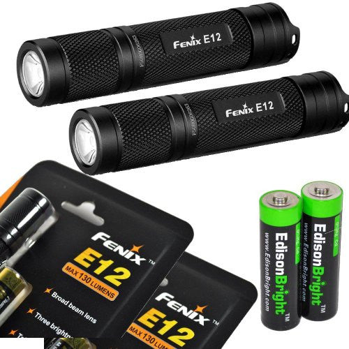 2 Pack Fenix E12Fenix  CREE XP-E2 130 Lumen LED flashlight with two EdisonBright AA alkaline batteries. E11 upgrade