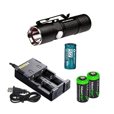 Olight S10 L2 Baton 400 Lumens CREE XM-L2 LED Flashlight EDC, Nitecore i2 home/car intelligent Charger, Olight RCR123A rechargeable Li-ion battery and EdisonBright CR123A Lithium Battery bundle