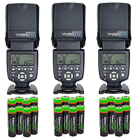 3 Pack YONGNUO YN560 IV YN-560IV Wireless Flash Speedlite Master / Slave Flash with Built-in Trigger System with 24 X EdisonBright Ni-MH rechargeable AA batteries bundle for Canon Nikon Pentax Olympus Fujifilm Panasonic Digital Cameras