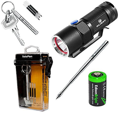 Olight S10 400 Lumen CREE LED Flashlight EDC with True Utility TU246 telescopic keychain pen and EdisonBright CR123A Lithium Battery