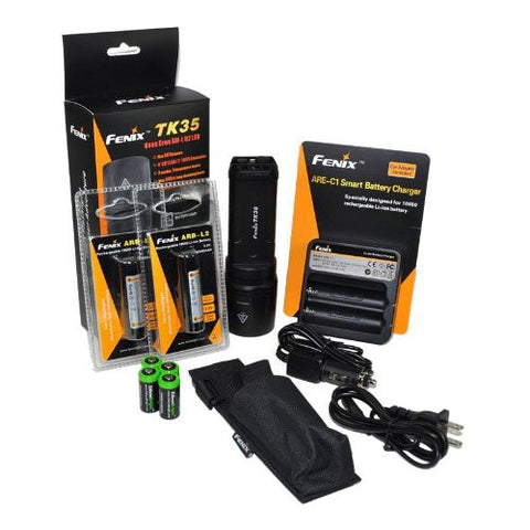FENIX TK35 U2 860 Lumen Tactical LED Flashlight with 2 x Fenix ARB-L2 2600mAh Li-ion rechargeable batteries, 4 X EdisonBright CR123A Lithium batteries, Fenix ARE-C1 18650 batery charger, in-car Charger adapter, Holster & Lanyard complete package