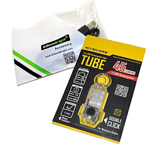 Nitecore TUBE (clear) 45 lumen USB rechargeable LED keychain light and EdisonBright brand USB charging cable bundle