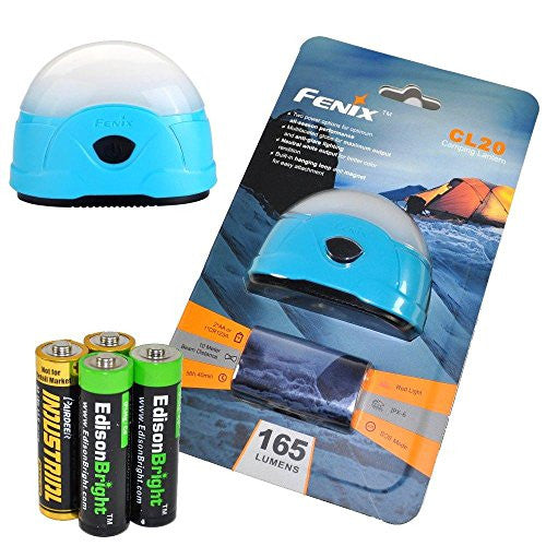 Fenix CL20 165 Lumen dedicated camping light (blue body) with 2X EdisonBright AA Alkaline batteries