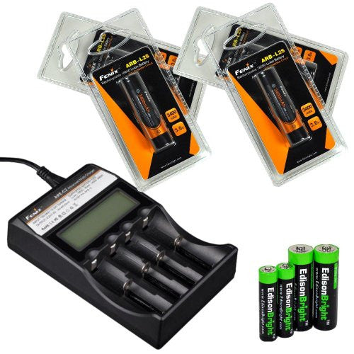 Fenix ARE-C2 four bays Li-ion/ Ni-MH advanced universal smart battery charger, Four Fenix 18650 ARB-L2S 3400mAh rechargeable batteries (For PD35 PD32 TK22 TK75 TK11 TK15 TK35 TK51) with EdisonBright Batteries sampler pack