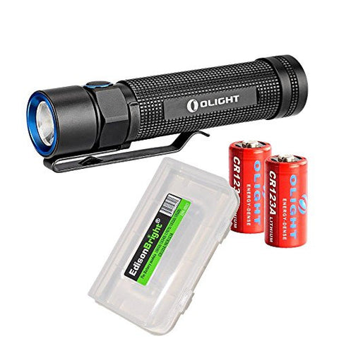 Bundle: Olight S2 Baton 950 Lumen CREE LED Flashlight with 2X Olight CR123 lithium batteries and EdisonBright battery carry case