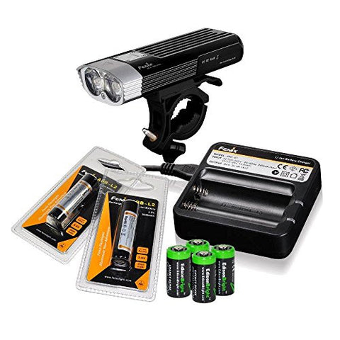 Fenix BC30 1800 lumen Dual Distance Beam Cree XM-L2 T6 LED 5 Mode Bike Bicycle Light with Fenix ARE-C1 Battery Charger, 2 X Fenix ARB-L2 18650 rechargeable batteries and 4 X EdisonBright CR123 Batteries bundle