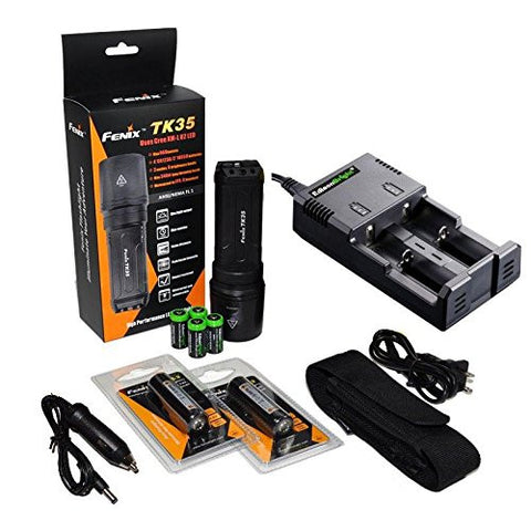 FENIX TK35 U2 860 Lumen Tactical LED Flashlight with 2 x Fenix ARB-L2 2600mAh 18650 Li-ion rechargeable batteries, 4 X EdisonBright CR123A Lithium batteries, EdisonBright 2 bay Smart Battery Charger, in-car adapter, Holster & Lanyard bundle