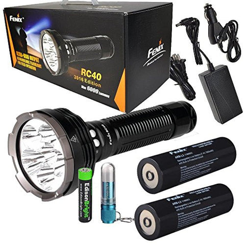 FENIX RC40 2016 Rechargeable 6000 Lumen Cree XM-L2 U2 LED Flashlight/ Searchlight, Car / Home charger, Genuine Fenix ARB-L3 7800mAh Spare battery with Fenix CL05 Lip light and EdisonBright AAA battery