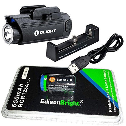 Olight PL1 400 lumen LED handgun light with EdisonBright EBR65 RCR123A lithium-ion battery and charger bundle