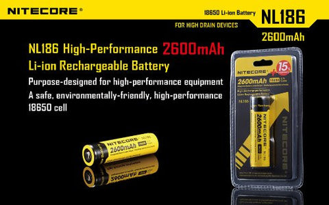 Nitecore NL186 Li-ion reachargeable 2600mAh 18650 battery