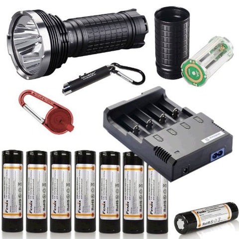 FENIX TK75 2600 Lumen Triple CREE XM-L U2 LED Flashlight/ Searchlight with Eight Genuine Fenix ARB-L2 18650 Batteries, Fenix AER-TK75 Extender, Nitecore i4 smart battery Charger and Red Smith & Wesson LED CaraBeamer Clip Light Package