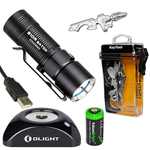 Olight S10R Baton rechargeable 400 Lumens CREE XM-L2 LED Flashlight EDC with True Utility TU247 KeyTool, RCR123 Li-ion battery, Charging Base and EdisonBright CR123A Lithium back-up Battery