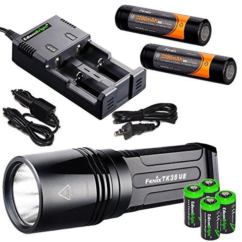 FENIX TK35 Ultimate Edition 2000 Lumen 2015 version LED Tactical Flashlight with 2 x Fenix ARB-L2P Li-ion rechargeable batteries, 4 X EdisonBright CR123A Lithium batteries, smart battery charger, in-car Charger adapter, Holster & Lanyard bundle