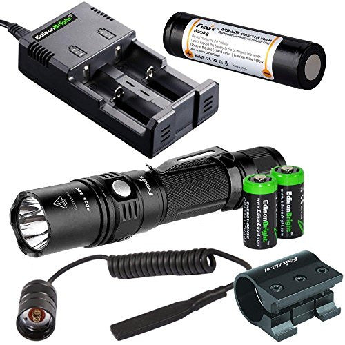 Fenix 1000 Lumen CREE LED PD35 TAC Flashlight w/ARB-L2M 18650 Li-ion rechargeable battery, smart Charger, ALG-01 weapon mount, AR102 pressure switch and 2 X EdisonBright CR123A batteries bundle