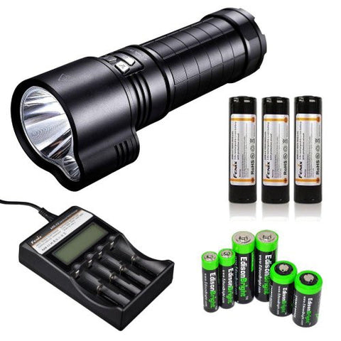 FENIX TK51 1800 Lumen Dual Beam CREE XM-L2 U2 LED Flashlight with 3X Fenix ARB-L2 18650 2600mAh Li-ion rechargeable batteries, Fenix ARE-C2 advanced four slot battery Charger and EdisonBright battery sampler pack bundle