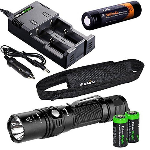 Fenix PD35 TAC 1000 Lumen CREE LED Tactical Flashlight with Fenix ARB-L2S 18650 Li-ion rechargeable battery, EdisonBright smart Charger and 2 X EdisonBright CR123A Lithium batteries bundle