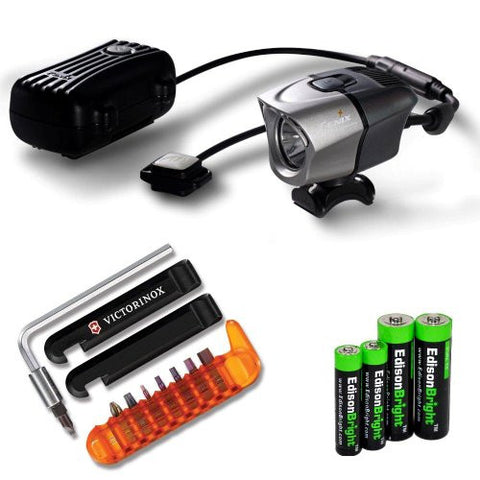 Fenix BTR20 800 lumen rechargeable Dual Distance Beam Cree LED 5 Mode Bike Bicycle Light with battery, charger, Helmet Mount, Victorinox/Swiss Army bike tool kit and EdisonBright AA/AAA alkaline battery sampler pack.