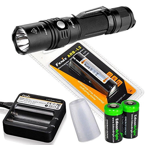 Bundle: Fenix PD35 TAC 1000 Lumen 2015 Ver. CREE LED Tactical Flashlight with AOD-S diffuser, genuine Fenix ARB-L2 battery, Fenix ARE-C1 Battery charger and Two EdisonBright CR123A Lithium Batteries