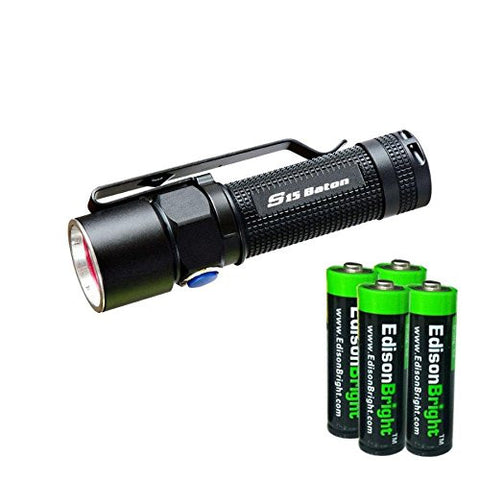 Olight S15 Baton XM-L 280 Lumens LED single AA Flashlight EDC with 4 X EdisonBright AA alkaline Batteries