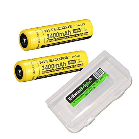 2 Pack NITECORE NL189 3400mAh Protected 18650 Rechargeable Li-ion Batteries with EdisonBright AA/AAA alkaline battery sampler pack.- Designed for TM26 TM16 TM06 SRT7 SRT6 P25 EC25 TK75 PD35 PD32 TK22 M21X BT20 MH20 i4 and other High Drain Devices.