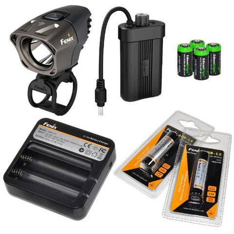 Fenix BT20 750 lumens Dual Distance Beam Cree LED 5 Mode Bike Bicycle Light with Fenix ARE-C1 Battery Charger, 2 X Fenix ARB-L2 18650 rechargeable batteries and 4 X EdisonBright CR123 Batteries bundle