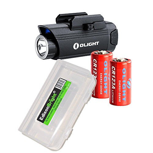 Bundle: Olight PL1 Valkyrie 400 lumen LED weapon mounted light with 2X Olight CR123 lithium batteries and EdisonBright battery carry case
