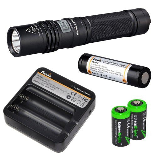 Fenix E35 Ultimate Edition 900 (E35UE) Lumen CREE XM-L2 U2 LED Flashlight with Genuine Fenix ARB-L2M 18650 Li-ion rechargeable battery, Fenix ARE-C1 home/car Charger and 2 X EdisonBright CR123A Lithium batteries package