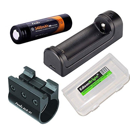 Fenix ARE-X1 battery charger, Fenix ARB-L2S 18650 battery, ALG-01 weapon mount, EdisonBright Battery case accessory bundle for PD35 bundle for PD35, UC35, TK15C, TK22, TK15