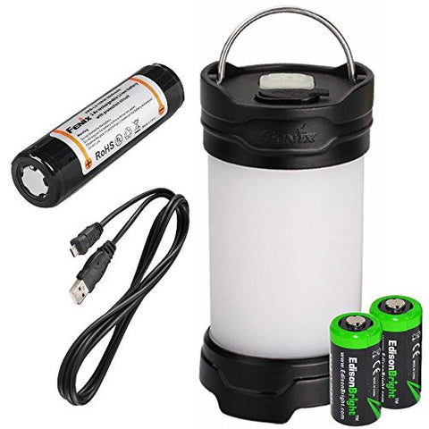 Fenix CL25R 350 lumen USB rechargeable camping lantern / work light (Black body) , 18650 rechargeable battery with Two back-up use EdisonBright CR123A Lithium Batteries