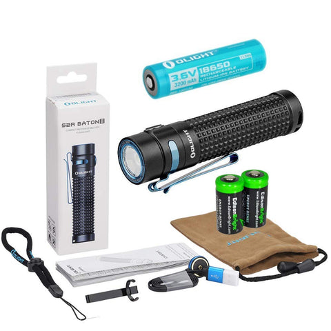 Olight Rechargeable Battery 2 X Charging brackets and EdisonBright cable carry case Olight Seeker 2 Pro 3200 Lumen USB Rechargeable LED Flashlight