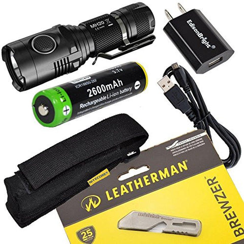 Leatherman Brewzer 831675 multi-tool, Nitecore MH20 CREE XM-L2 U2 LED 1000 Lumen USB Rechargeable Flashlight, EdisonBright 18650 rechargeable Li-ion battery, and EdisonBright USB charger bundle