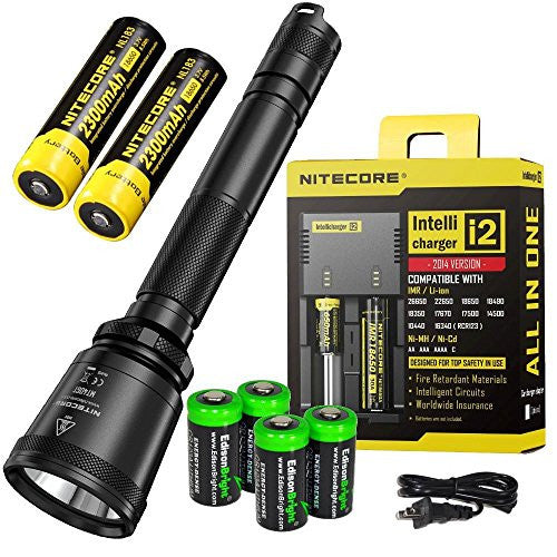 Bundle: NITECORE MT40GT 1000 Lumen CREE LED 675 yards long throw tactical flashlight, 2 X NL183 18650 batteries, i2 charger with 4 X EdisonBright CR123A Lithium Batteries