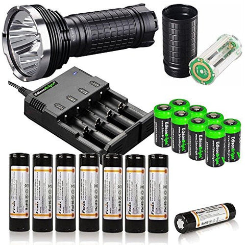 FENIX TK75 2015 Edition 4000 Lumen quad CREE XM-L2 U2 LED Flashlight/Searchlight with Eight Genuine Fenix ARB-L2 18650 Batteries, Fenix AER-TK75 Extender Tube, Battery Magazine, four bay battery Charger and eight EdisonBright CR123A lithium batteries