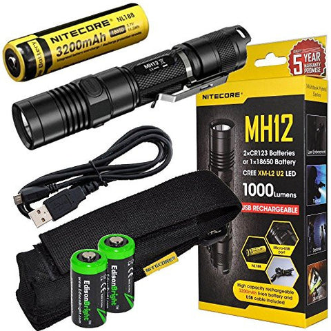 Nitecore MH12 CREE XM-L2 U2 LED 1000 Lumen USB Rechargeable Flashlight, 18650 rechargeable Li-ion battery, USB charging cable and Holster with 2 X EdisonBright CR123A lithium Batteries bundle