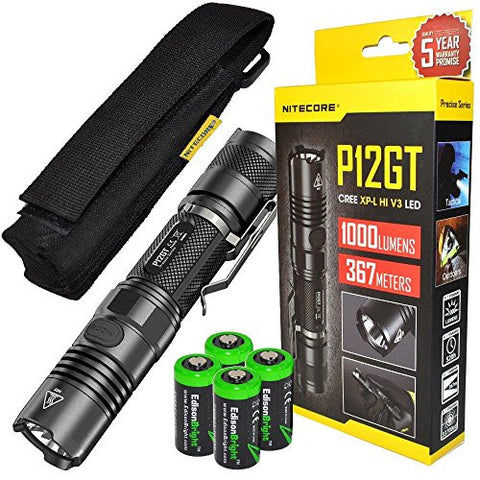 Bundle: NITECORE P12GT 1000 Lumen high intensity CREE LED 350 yards long throw tactical flashlight with 4 X EdisonBright CR123A Lithium Batteries