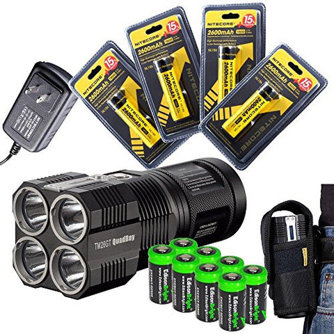 2015 version NITECORE Tiny Monster TM26GT QuadRay 3500 Lumen Quad CREE LED Flashlight / Searchlight with 4 X Nitecore NL186 2600mAh 18650 rechargeable batteries and 8 X EdisonBright CR123A Lithium Batteries Package