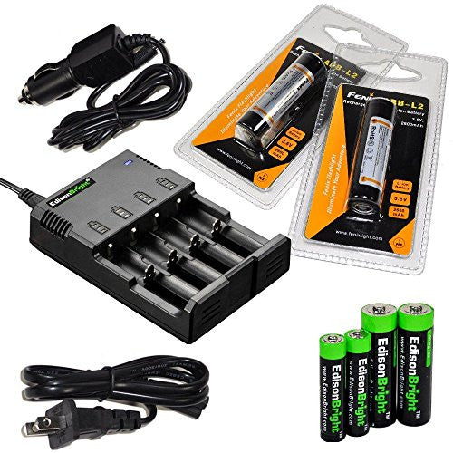 EdisonBright four Bays universal smart home/in-car battery charger, Two Fenix 18650 ARB-L2 2600mAh rechargeable batteries (For PD35 PD32 TK22 TK75 TK11 TK15 TK35) with EdisonBright Batteries sampler pack
