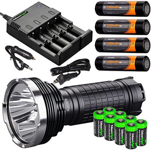 FENIX TK75 2015 Edition 4000 Lumen quad CREE XM-L2 U2 LED Flashlight with Four Fenix ARB-L2P 18650 Batteries, 4 port home/car smart battery charger and eight EdisonBright CR123A lithium batteries bundle