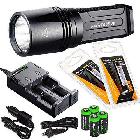 FENIX TK35 Ultimate Edition 2015 (TK35UE) 2000 Lumen LED Tactical LED Flashlight with 2 x Fenix ARB-L2 2600mAh 18650 Li-ion rechargeable batteries, 4 X EdisonBright CR123A Lithium batteries, battery charger, in-car Charger, Holster & Lanyard bundle