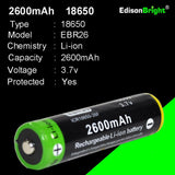 Brand New 2 Pack Genuine EdisonBright EBR26 2600mAh 18650 Li-ion 3.7v rechargeable protected batteries