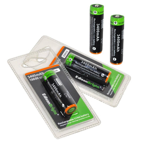 4 Pack EdisonBright EBR34 3400mAh 18650 rechargeable Li-ion protected batteries
