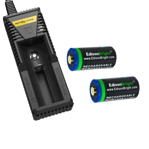 2 Pack EBR65 EdisonBright RCR123A rechargeable protected li-ion type 16340 650mAh batteries with Nitecore i1 battery charger