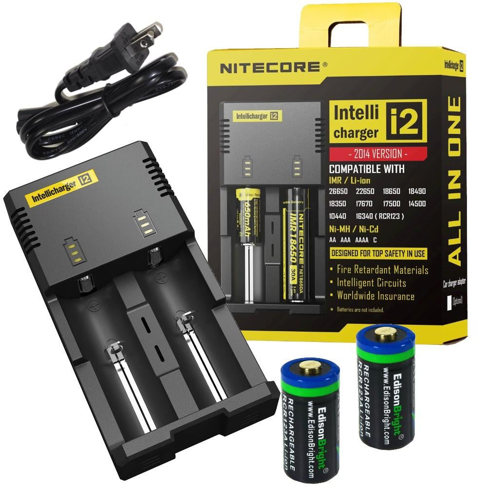 2 Pack EdisonBright EBR65 type 16340 RCR123A rechargeable protected li-ion 650mAh batteries with Nitecore i2 battery charger