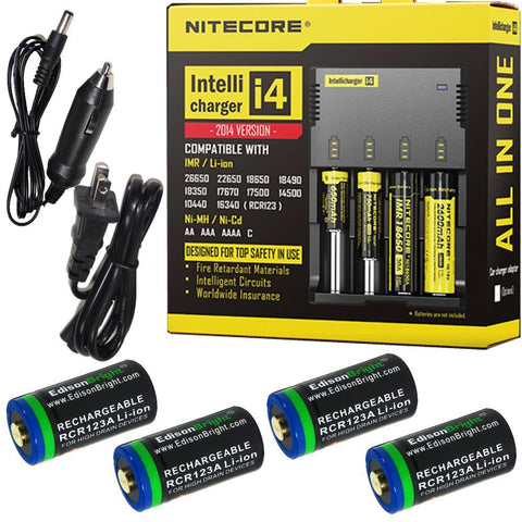 4 Pack EdisonBright EBR65 rechargeable CR123A type 16340 RCR123A 3.7v protected li-ion 650mAh batteries with Nitecore i4 home/car battery charger bundle